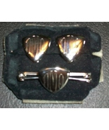 Brilliant Silver-tone Monogrammed Collar Bar and Matching Clip-ons - $7.00