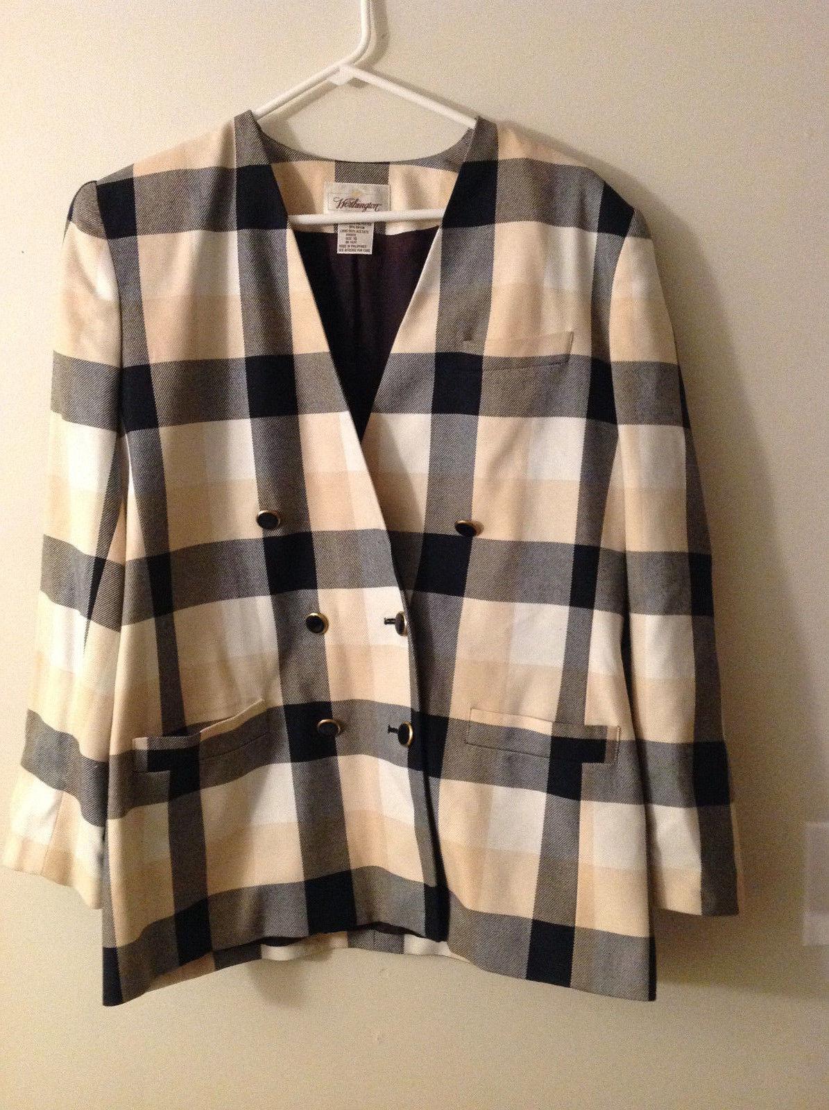 Worthington Women's Size 16 Blazer Black Cream Beige Allover Plaid Check Pattern