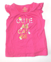 Okie Dokie Toddler Girls T-Shirt Cute As Can Be Pink Size 18M VGUC - $7.27
