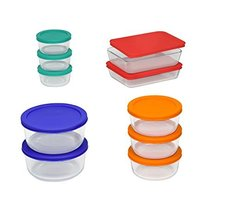 Food Storage Container Pyrex Set Clear Red Orange Blue Green20 Pieces 11... - £42.32 GBP