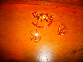 Rocking Horse Brooch and Earring - $2.00