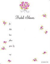 BRIDAL SHOWER ROSE BOUQUET INVITIATIONS Wedding Party Fill-In Cards Flow... - $5.85