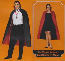 REVERSIBLE CAPE Black Red Adult One Size Men Women Costume Halloween Dra... - $15.95