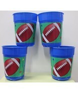4-SET FOOTBALL PLASTIC TUMBLERS Cups Sports Kids Child Boys Blue Party F... - $10.90