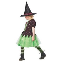 SPARKLE WITCH GIRLS COSTUME Child Large 10-12 Polka Dot Colorful Hallowe... - $14.27
