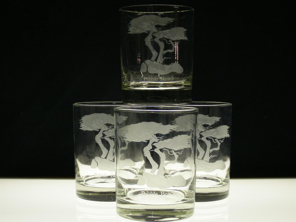 "FOUR ""PEBBLE BEACH"" - DOUBLE OLD FASHION - BAR GLASSWARE - SKU# 1609"