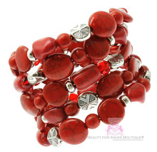 Rustic Adjustable Chunky Firecracker Faux Coral Stone Red Silver Coil Br... - $6.73