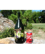 Old Heavy Champagne bottle art piece Grapes Signed bz - $69.98