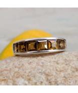 Smokey Quartz Half Eternity Ring Smoky Quartz 925 Silver Ring Eternity B... - $69.99