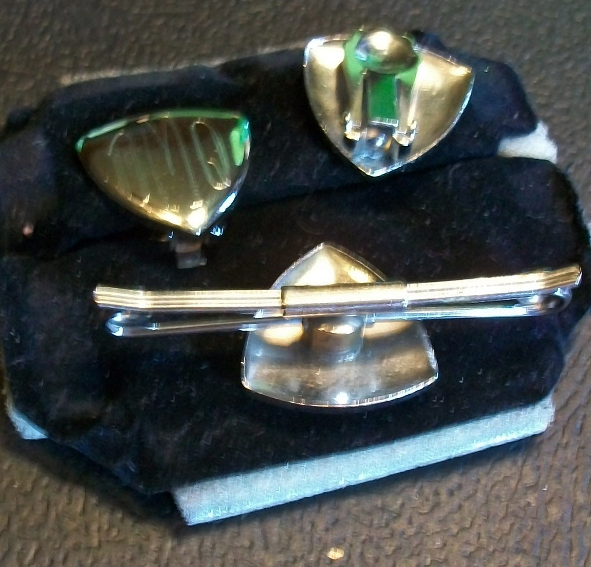 Brilliant Silver-tone Monogrammed Collar Bar and Matching Clip-ons