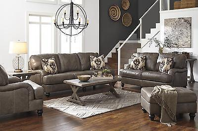Ashley Kannerd Living Room Set 4pcs Quarry Genuine Leather Contemporary Style