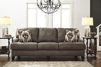 Ashley Kannerd Living Room Set 3pcs Quarry Genuine Leather Contemporary Style