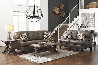 Ashley Kannerd Living Room Set 2pcs Quarry Genuine Leather Contemporary Style
