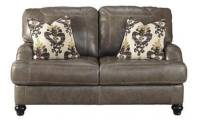 Ashley Kannerdy Living Room Loveseat Quarry Genuine Leather Contemporary Style