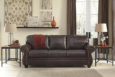 Ashley Bristan Living Room Sofa Top Grain Leather Walnut Traditional Style