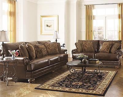 Ashley Chaling DuraBlend Living Room Set 2pcs Bonded Leather Antique Traditional