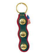 GREEN & RED LEATHER w/ SOLID BRASS CHRISTMAS BELLS Door Chime - Amish Ha... - $49.47