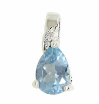 Blue Topaz Gemstone Pendant Rhodium Flash 925 Sterling Silver Jewelry SP0345 - $13.97