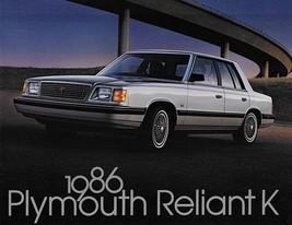 1986 Plymouth RELIANT K sales brochure catalog US 86 LE SE - $6.00
