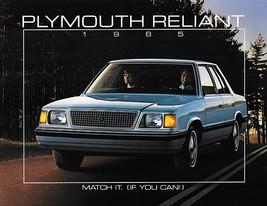 1985 Plymouth RELIANT sales brochure catalog US 85 K LE SE - $6.00
