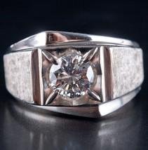 Men's Vintage 1960s 14k White Gold Round Diamond Solitaire Statement Rin... - $5,780.00