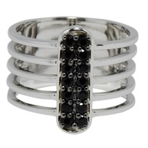 New Collection women silver ring with shining Black Spinel gemstone Ring... - $25.99