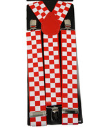 "Unisex Clip-on Braces Elastic Wide ""White/Red Checker"" Suspender - $3.95"