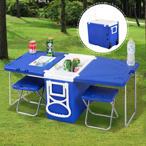 NEW! Picnic Camping Outdoor Rolling Cooler With Table & 2 Chairs Blue - $91.96