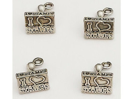 """Set of 4 """"I Love Stamps"""" Dangling Silver Charms"""