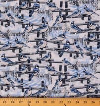 Cotton Blue-jays on Fence Birds Bird Glitter Cotton Fabric Print by Yard D585.14 - $11.49
