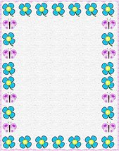 NEW Blue & Purple Floral Letterhead Stationery Paper 26 Sheets - $9.89
