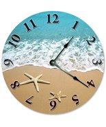 "STARFISH AT SHORELINE CLOCK Large 10.5"" Wall Clock Decorative Round Nove... - $23.85"