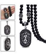 Men's Vintage Stainless Steel Lion Head Shield Pendant Onyx Beads Chain ... - $16.99