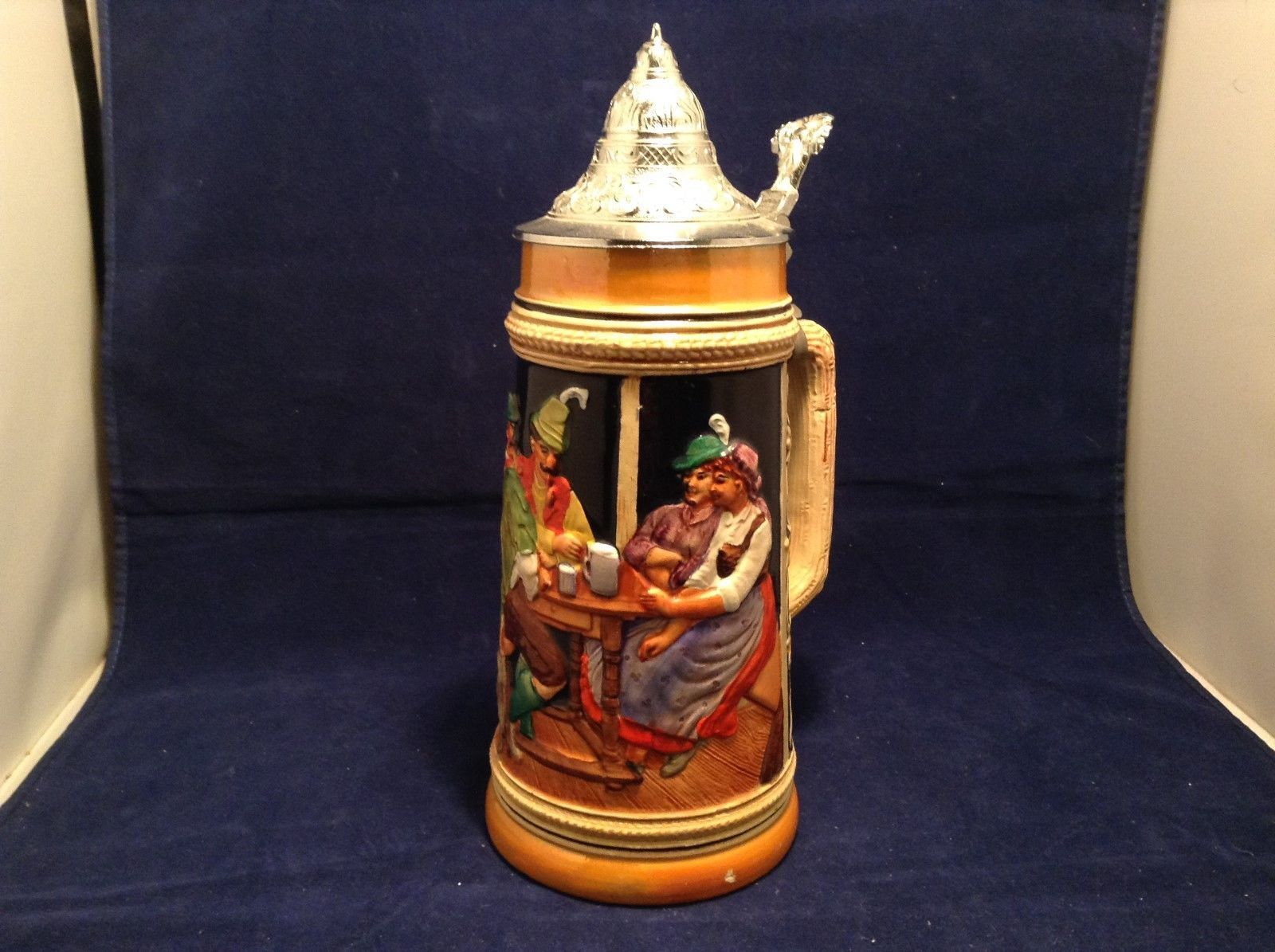 Vintage Gerz Handgemalt Lidded Beer Stein Made in Germany