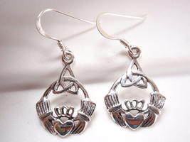 Claddagh Celtic Infinity Earrings 925 Sterling Silver Dangle Corona Sun Jewelry - $17.81