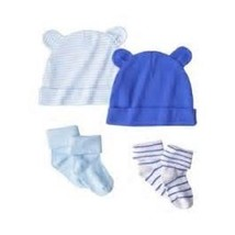 Circo Infant Boys 2 Hats and 2 Pairs of Socks Blue and White Size 0-3M NWT - $9.69