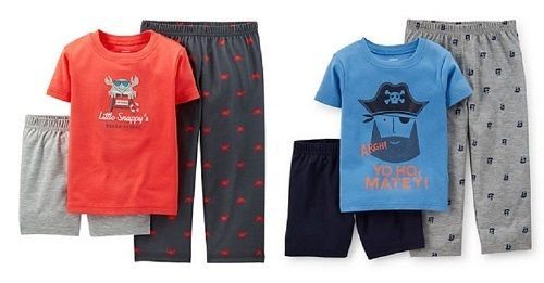 Carter's Infant  Boys 3 Pc Pajama Set Sz 2T Crab or Pirate NWT