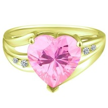 4.33 tcw Heart Cut Natural Pink Topaz & Round Diamond Ladies Ring Solid ... - $285.00