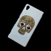 Retro Bronze Skull Punk Stud Rivet Back Hard Case Cover For Sony Xperia M4 Aqua - $6.99