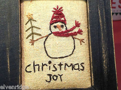Vintage look framed fabric stitchery with Christmas Joy Snowman and tree