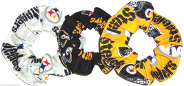 3 Pittsburgh Steelers Fabric Hair Scrunchie Scrunchies by Sherry Ponytail Holder - $21.95