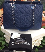 AUTHENTIC CHANEL QUILTED CAVIAR GST GRAND SHOPPING TOTE BAG BLUE SHW  image 3