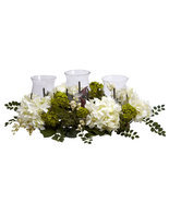 Beautiful Snowball Hydrangea Triple Candelabrum Silk Flower Arrangement  - $124.39 CAD