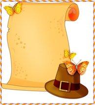 Thanksgiving Pilgrim Hat & Scroll Stationery Paper 26 Sheets - $9.89