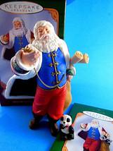 "Hallmark 2001 5"" Santa Claus w Panda Christmas Ornaments P. Andrews sculpted - $16.82"