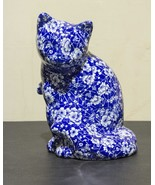 Ceramic Cat - Blue with White Floral (Calico St... - $31.00