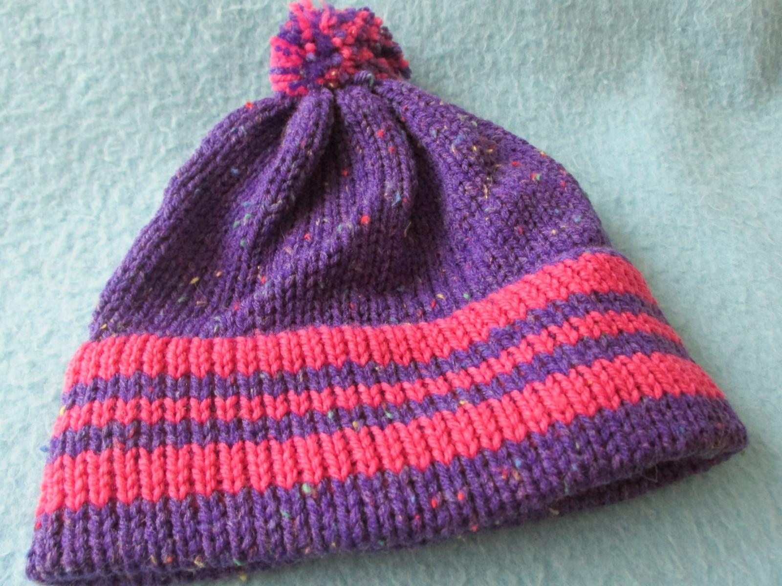 Babys Machine Knitted Hat- Size 6 months - Purple Tweed