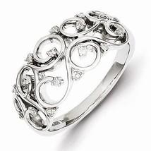 STERLING SILVER & DIAMOND OPEN SWIRL SCROLL RING  SIZE 8 - £146.27 GBP