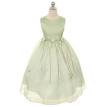 Sage Satin Bodice Flower Girl Dresses with Pearl-Accented Flowers Birthday Party - $28.00