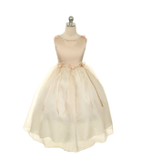 Champagne Satin Bodice Flower Girl Dresses with Pearl-Accented Flowers B... - $28.00